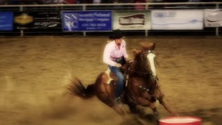 Cowgirl Barrel Racing Slow Motion