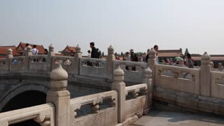 crowds in the forbidden city palace in beijing china