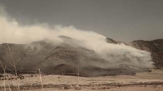 Desert Fire Burning Mountainside