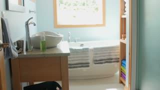 Dolly shot of a beautiful modern bathroom