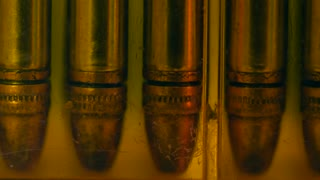 Dolly shot of bullets in a case