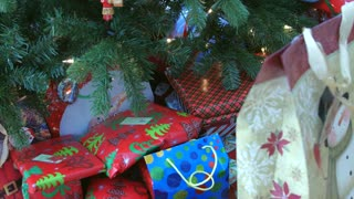 Dolly shot of christmas presents under tree
