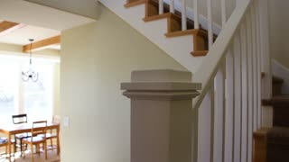 Dolly shot of stairs in a new home