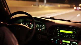 driving at night down a highway