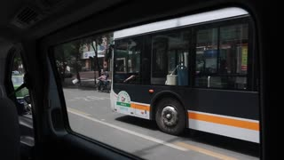 driving by a bus in chengdu china