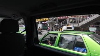 driving shot in chengdu china city