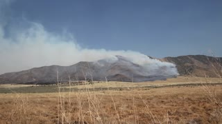 Dry Grass on Fire on Mountain