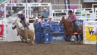 Editorial a cowboy misses steer wrestling in PRCA rodeo event slow motion