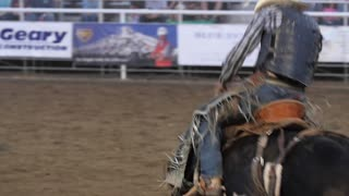 Editorial a saddle bronc in a PRCA Oakley rodeo slow motion