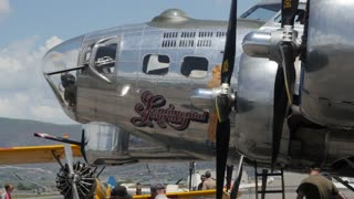 Editorial B17 bomber in a World War 2 traveling exhibit