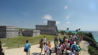 Editorial Beach Side Mayan Ruins In Tulum Mexico