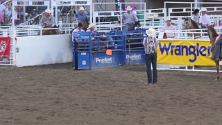 Editorial coboys team roping in a PRCA rodeo event