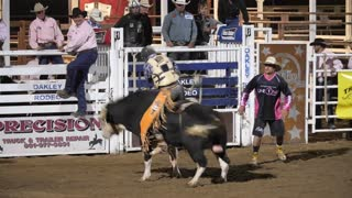 Editorial cowboy falls off bull at the PRCA Oakley rodeo slow motion