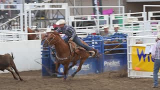 Editorial cowboy misses steer wrestling in PRCA rodeo event