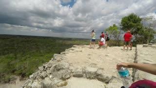 Editorial of people on top of ruin at Ek Balam Mayan ruins in Mexico