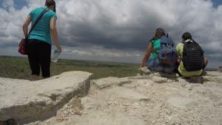 Editorial people resting on top of ruin at Ek Balam Mayan in Mexico
