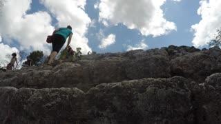 Editorial tourist visiting the Ek Balam Mayan ruins in Mexico