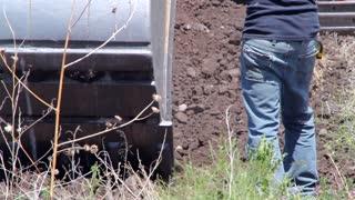 Excavators and tractor digging