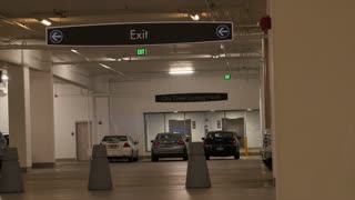 Exit sign in parking garage