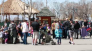 families at the zoo out of focus