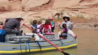families on rafts on the san juan river