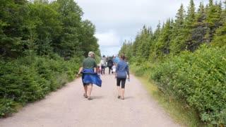 Family hike the skyline trail in Cape Breton Nova Scotia