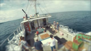 Family riding on a fishing boat Cape Breton