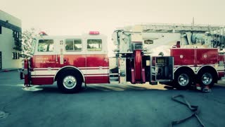 fire truck at burning building