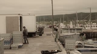 fishermen in the harbor in nova scotia