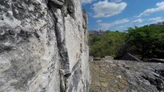 Gimbal Shot Moving Through Ek Balam Mayn Ruins