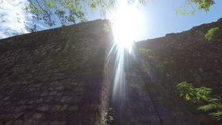 Gimbal Shot Of A Woman Tourist Walking At Ek Balam Mayan Ruins