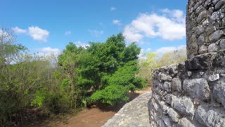 Gimbal shot of Mayan ruins at Ek Balam near Cancun
