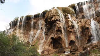 gorgeous waterfall at jiuzhaigou valley national park at china panning shot