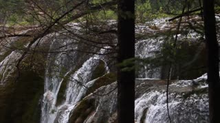gorgeous waterfall at jiuzhaigou valley national park at china panning