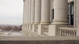 Granite pillars at Utah State Capitol Building dolly shot