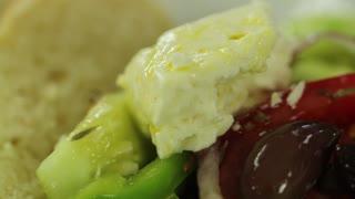 greek salad on the table rack focus