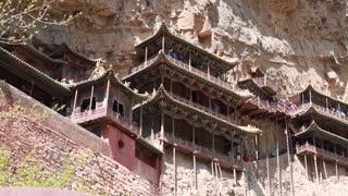 hanging temple monastery at datong china dolly shot