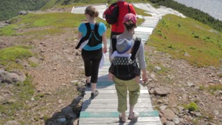hikers along skyline trail boardwalk in cape breton nova scotia