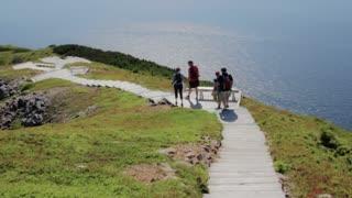 hikers along skyline trail in cape breton nova scotia