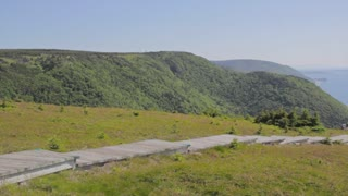 hikers along the skyline trail in cape breton nova scotia