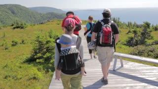 hikers on skyline trail in cape breton nova scotia