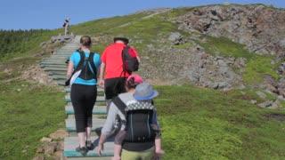hiking up the skyline trail boardwalk in cape breton nova scotia