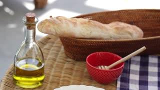 homemade italian bruschetta on the kitchen table