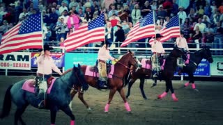 Horses and Flags at Rodeo