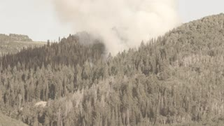 Huge mountain wildfire and smoke on summer day
