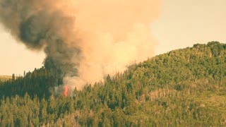 Huge mountain wildfire with smoke on a summer day