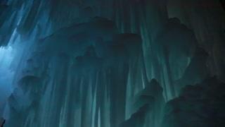 huge wall of frozen ice