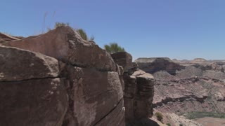 jib shot of hot desert and grand canyon