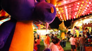 Large stuffed animals at a carnival.