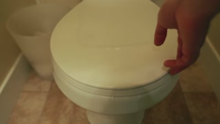 lifting the toilet lid